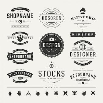 Retro vintage insignias ou logotypes définissent des éléments graphiques vectoriels