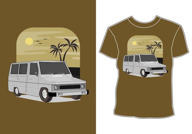 Rétro, vintage, voiture classique avec mer, illustration pour l'impression de t-shirt