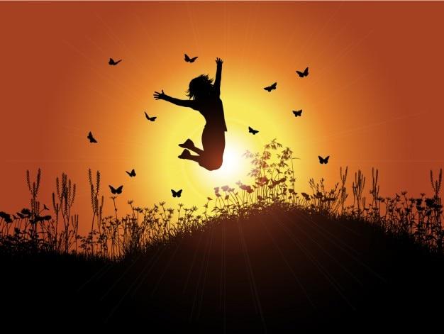 Rétroéclairé fille avec sunset background