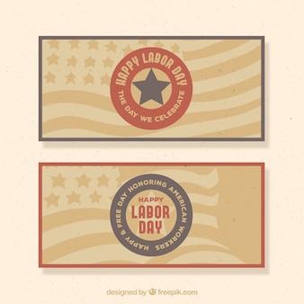 Rétros bannières des bannières américaines du jour du travail