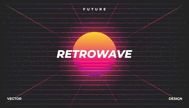 Retrowave cyber néon fond paysage des années 80 stylé.