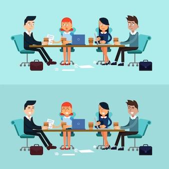 Réunion d'affaires sur les bannières horizontales, travail d'équipe, développement
