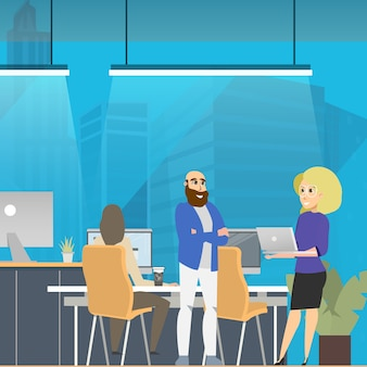 Réunion d'affaires dans le coworking en open space moderne
