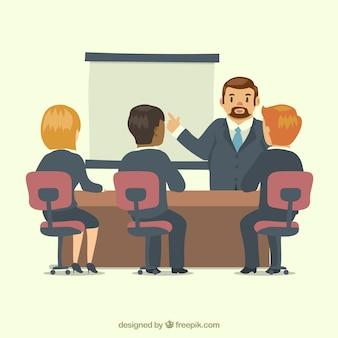 Réunion d'affaires avec le patron