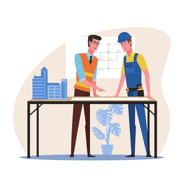 Réunion d'architecte et de travailleur de la construction pour le projet de plan architectural