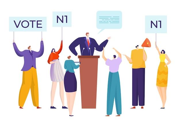 Réunion de campagne de discours des candidats avec des gens