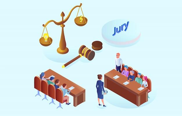 Réunion du jury de bannière plat et discussion isométrique