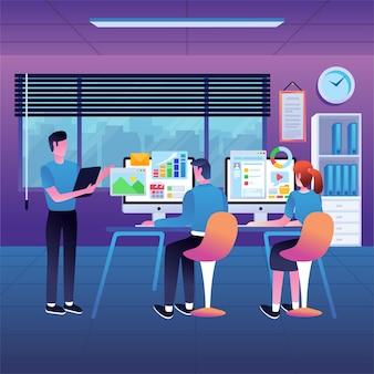 Réunion d'entreprise avec des personnages de dessins animés d'employés discutant d'illustration