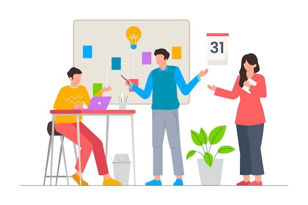 Réunion de l'équipe commerciale à l'illustration vectorielle de bureau