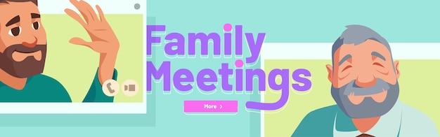 Réunion De Famille Par Bannière D'appel Vidéo En Ligne Vecteur gratuit