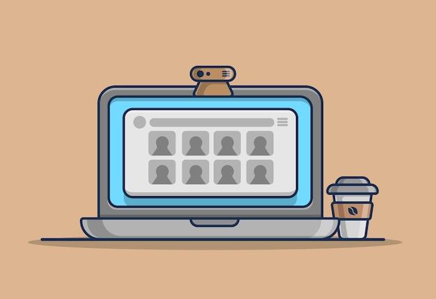 Réunion sur l'icône d'illustration d'ordinateur portable