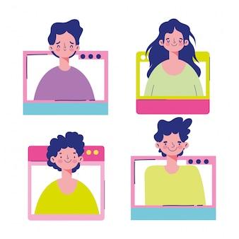 Réunion en ligne, caricature de la communauté du site web connecté