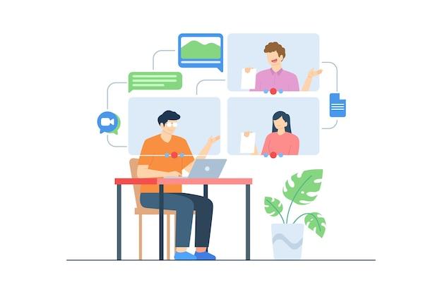 Réunion en ligne de travail d'équipe par illustration vectorielle d'appel vidéo