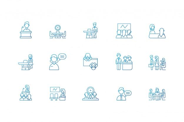 Réunion des personnes isolées icon set design