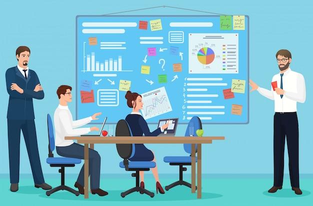 Réunion de présentation d'affaires dans un centre de coworking