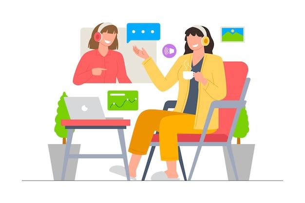 Réunion vidéo en ligne d'affaires avec illustration vectorielle d'équipe