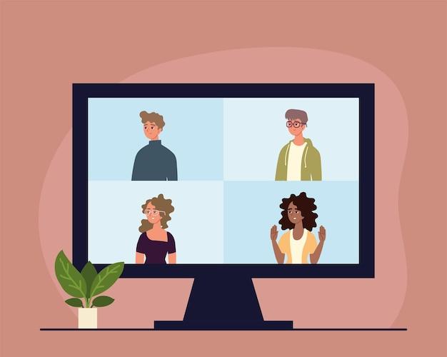 Réunion virtuelle de personnes