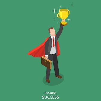 La réussite des entreprises. gagnant du concours commercial.