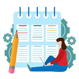 Réussite des tâches de l'entreprise. presse-papiers de liste de contrôle. questionnaire