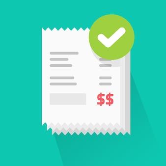 Réussite vérifiée des reçus de factures payées avec illustration de coche approuvée
