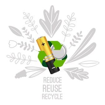 Réutilisation et recyclage de la batterie. concept de recyclage des batteries d'équipements électroniques, les déchets électroniques réduisent l'illustration