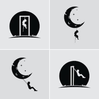Rêve d'un enfant se balançant et accroché à la lune