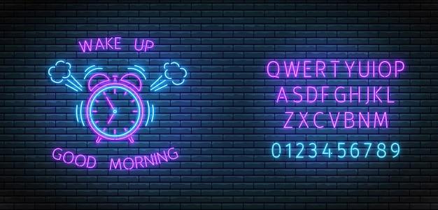 Réveil au néon. horloge à sonnerie avec police éclairée. bonjour et réveillez-vous le concept.