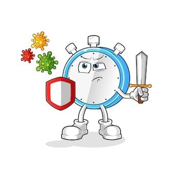 Réveil contre dessin animé de virus