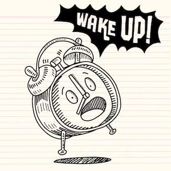 Réveil dessiné à la main isolé sur fond blanc, réveil