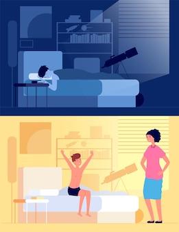 Réveil enfant. enfant assis sur le lit dans la chambre, maman et fils tôt le matin. garçon heureux endormi et éveillé, illustration vectorielle de repos nocturne. activité de réveil, bonheur éveillé dans la chambre