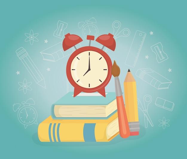 Réveil et fournitures à l'école