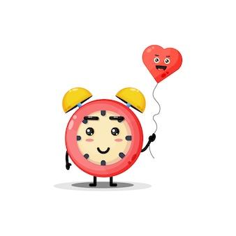 Réveil mignon avec des ballons d'amour