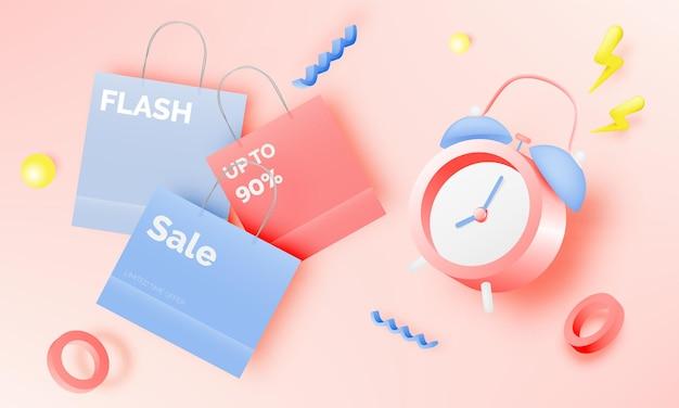 Réveil à vendre bannière ou promotion en illustration d'arrière-plan de couleurs pastel