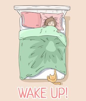 Réveillez-vous carte postale. chat attrapant des pattes sous la couverture. la fille se réveille à cause de son chat.