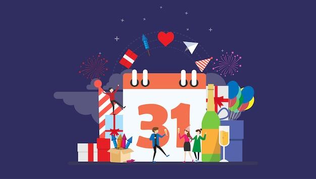 Réveillon du nouvel an fête célébration minuscules personnage illustration