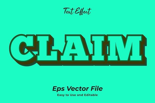 Revendication d'effet de texte vecteur premium modifiable et facile à utiliser