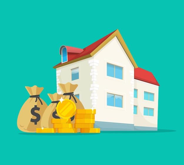 Revenu de l'argent des affaires immobilières. la construction d'une maison des taxes coûteuses. illustration de dessin animé plat
