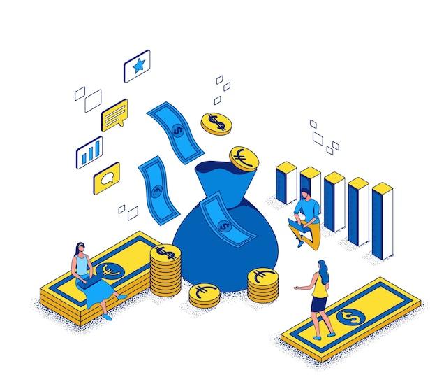 Revenu sur le concept de dépenses publicitaires, retour sur investissement de la campagne marketing illustration isométrique 3d, les gens d'affaires analysent le rapport publicitaire, contexte de réussite financière