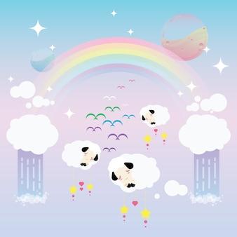 Rêveur, arc-en-ciel, mouton