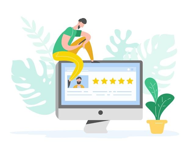 Revoir l'illustration du concept. caractère de l'homme écrivant de bons commentaires avec des étoiles d'or. services d'évaluation des clients et expérience utilisateur à l'aide d'un ordinateur portable. opinion positive de cinq étoiles. dessin animé