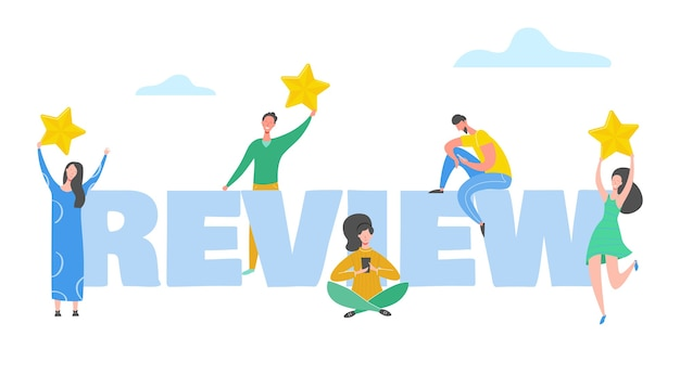 Revoir l'illustration du concept. personnages de personnes détenant des étoiles d'or. les hommes et les femmes évaluent les services et l'expérience utilisateur. avis positif de cinq étoiles, bons commentaires. dessin animé
