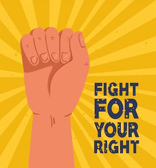 Révolution, protestation, bras levé pour lutter pour ta droite