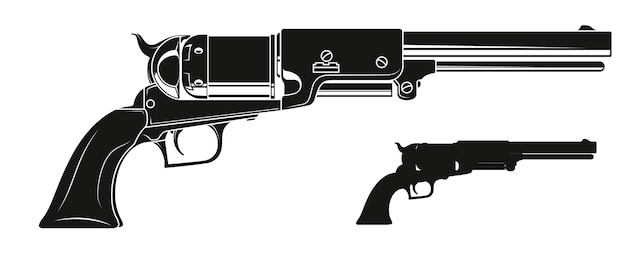 Revolver ancien silhouette graphique détaillée