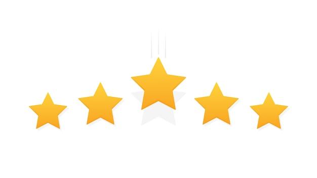 Revue d'évaluation de produit client cinq étoiles. style plat moderne