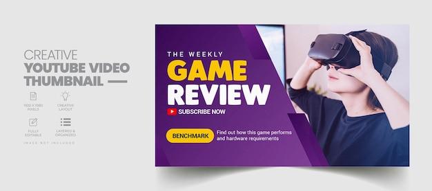 Revue de jeu miniature youtube et modèle de bannière web