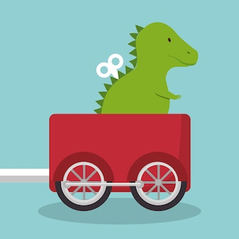 Rex dinosaure en train wagon vector illustration design