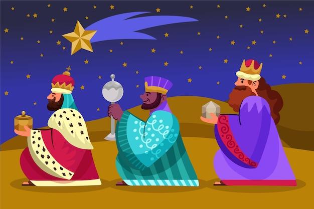 Reyes magos dessinés à la main