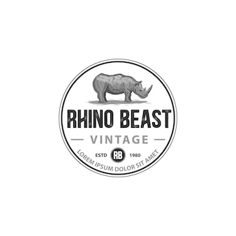 Rhino beast vintage retro classique avec gravure tamplate logo crosshaching