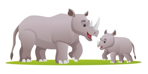 Rhino avec illustration de dessin animé mignon cub