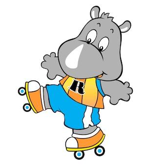 Rhino le patin à roulettes, illustration de dessin vectoriel